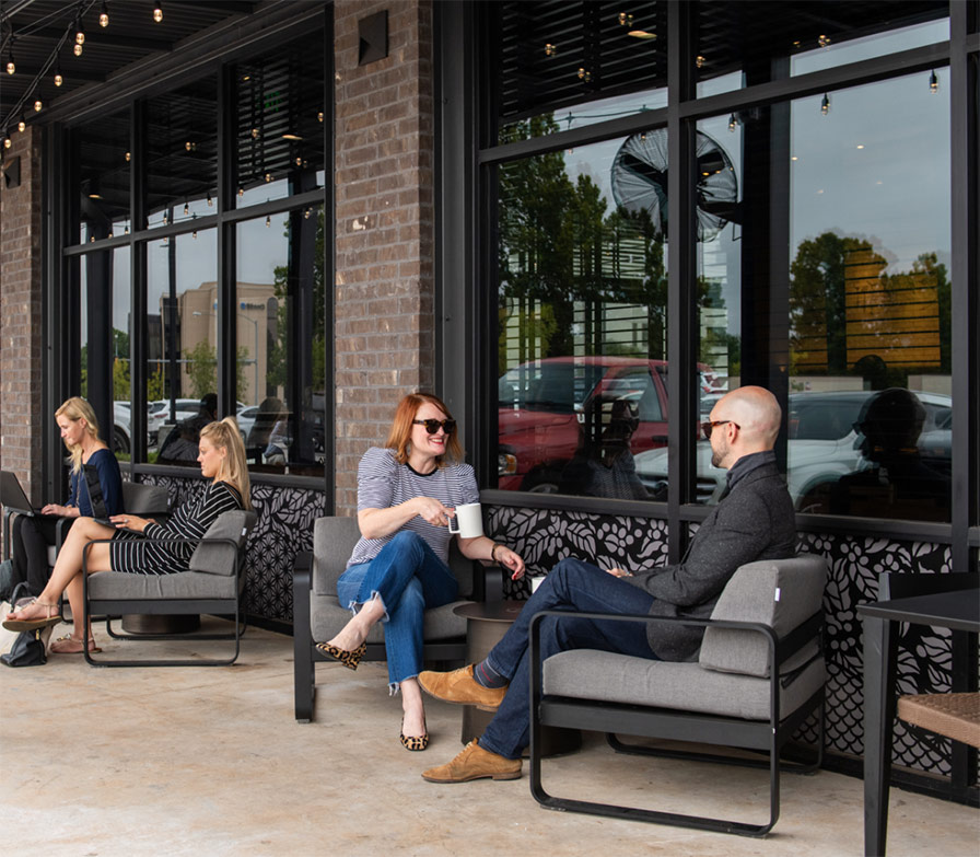people drinking coffee at a cafe in Oklahoma City